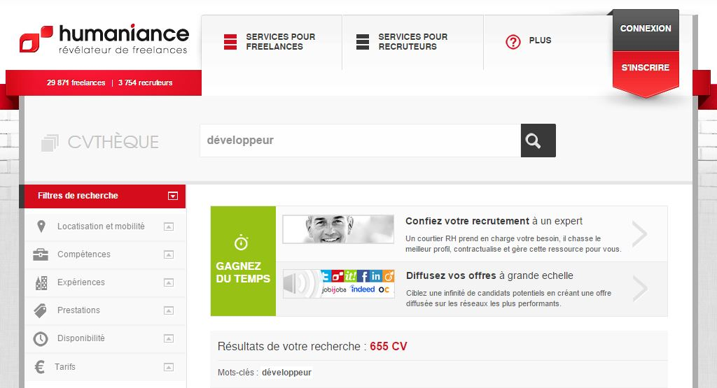 Sur la plateforme freelance Humaniance, plus de 650 développeurs indépendants recensés
