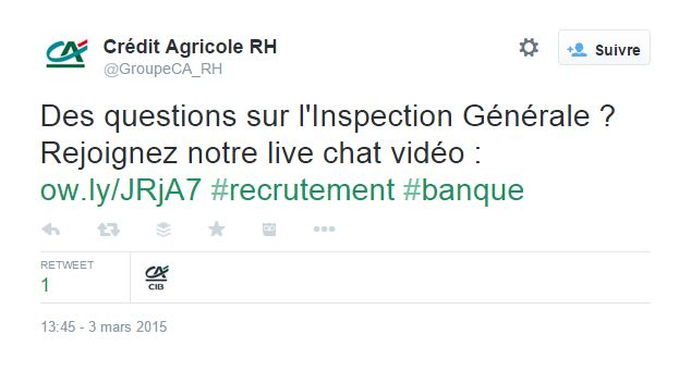 Sur Twitter, le compte @GroupeCA_RH propose aux utilisateurs de discuter en direct avec des dirigeants